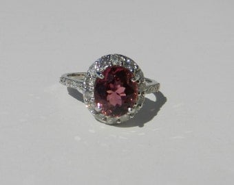 GIA Certified Natural Untreated 2.63 CT Pink Tourmaline & Diamond Ring 14KT Gold W/ Appraisal
