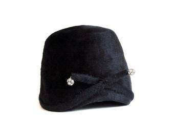 Vintage Black Cloche Style Hat Don Anderson