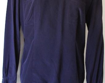 Vintage Navy Blue Silk Blouse with Shoulder Pads
