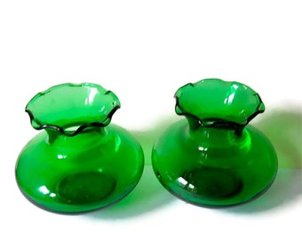 Vintage Bud Vases (2) Emerald Green Glass 1945