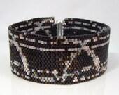 Beadwoven Art Bracelet Black and Pastel