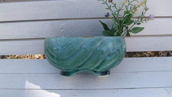 McCoy Green Drip Planter, Green Oval Flower Pot
