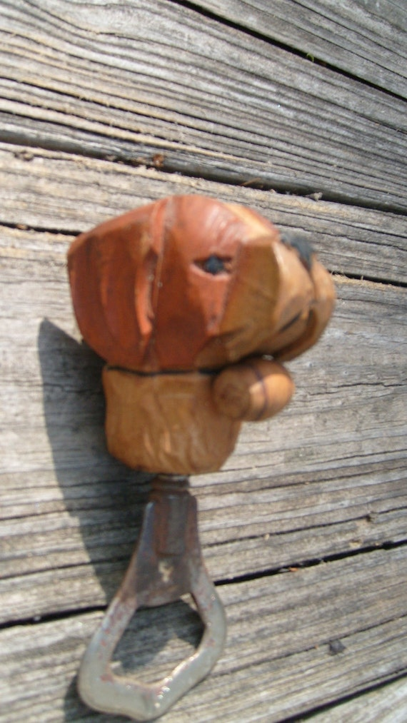 Anri St Bernard Bottle Opener, Hand Carved in Italy, Wooden Dog Bottle Opener, Wood Carving