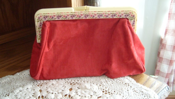 Red Wine Faux Velvet Clutch Purse, Roger Gimbel Lucite Floral Frame Bag, Designer Purse