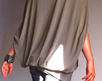 Wide Off Shoulder Blouse Plus Size Loose Top Olive Green Shirt Soft Cotton Jersey Shirt Off Shoulder Blouse Made to Measure Top