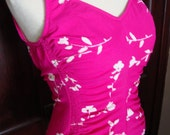 Bright Pink Floral Vintage One-Piece Pin Up size med/large