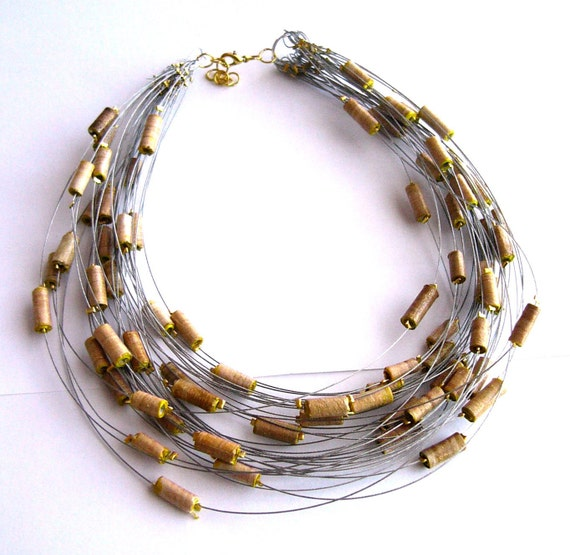Natural & eco-friendly statement necklace made of beige paper beads - upcycled jewelry, recycled, sustainable, rustic