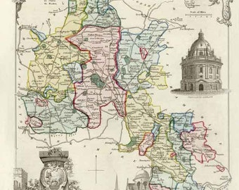 Oxfordshire 1837. Antique map of the County of Oxfordshire, England by Thomas Moule - MAP PRINT