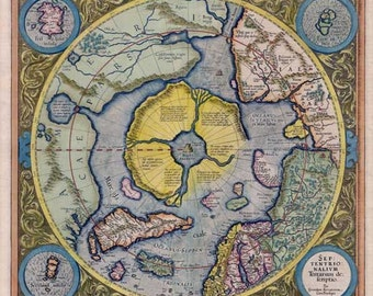 North Pole Map 1623. Antique Map 0f the North Pole by Mercator - MAP PRINT