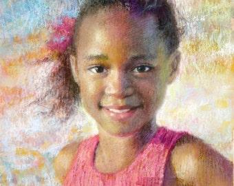 Custom Portrait Painting Pastel Watercolor Children Girls Room Decor Family Portrait 11x14 Beach Summer Colorful Art Pastel Painting Pink
