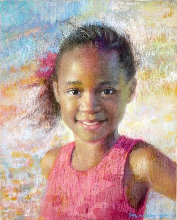 Custom Portrait Painting Pastel Watercolor Children Girls Room Decor Family Portrait 12x16 Beach Summer Colorful Art Pastel Painting Pink