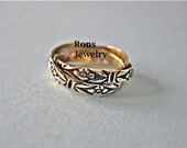Gold, 14K, Three Band, Rolling, Puzzle Ring with Floral Design