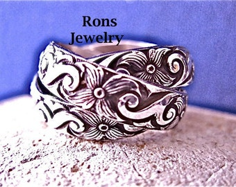 Sterling Silver, Rolling Puzzle Ring, Wide Floral Design