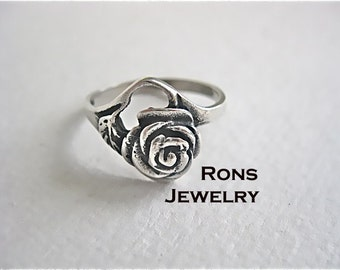 Handsculpted Lost Wax Casting of a Rose, Sterling Silver Ring