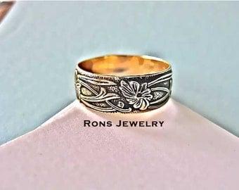 Gold, 14K,  Art Nouveau, Floral Design, 8 mm Antiqued Ring