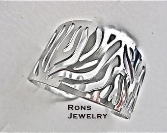 Steel, Cuff Bracelet with Wide Zebra Stripe/Tribal Flame Design
