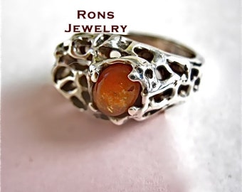 Sterling, One-Of-A-Kind, Volcanic Forces Ring with Fire Orange Sunstone.