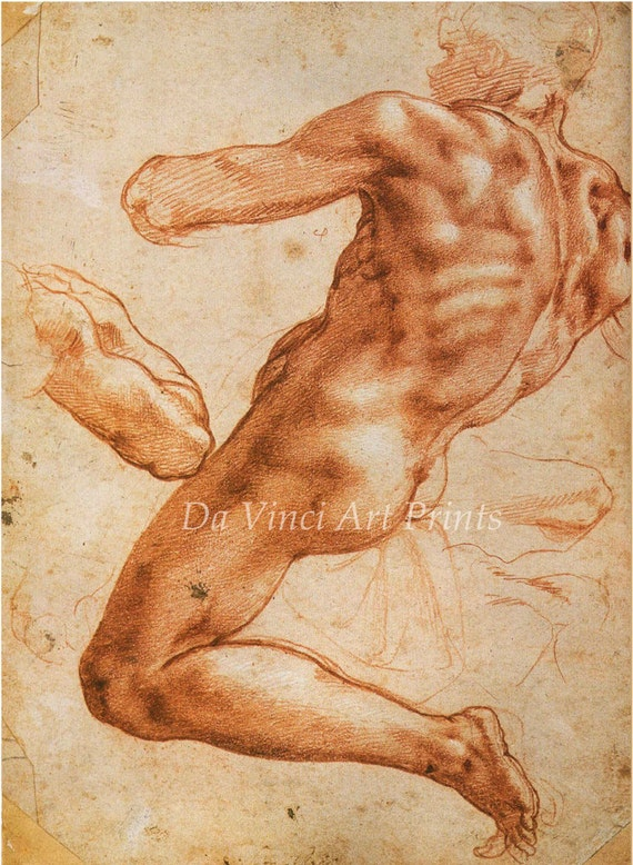Fine Art Reproductions. Sistine Chapel Studies, c.1510-11. Drawings by Michelangelo. 4 Fine Art Prints.