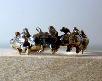 SALE Vintage Silver Multiple Frog Toad Band Ring