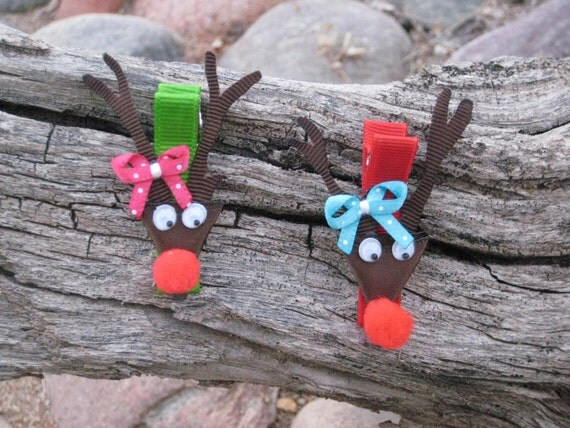 Reindeer Hair Clip - Ribbon Sculpture - Reindeer Hair Bow - Winter Hair Bow - Christmas Hair Clip - YOU PICK ONE
