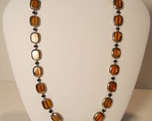 Gold/Amber and Black Handmade Necklace