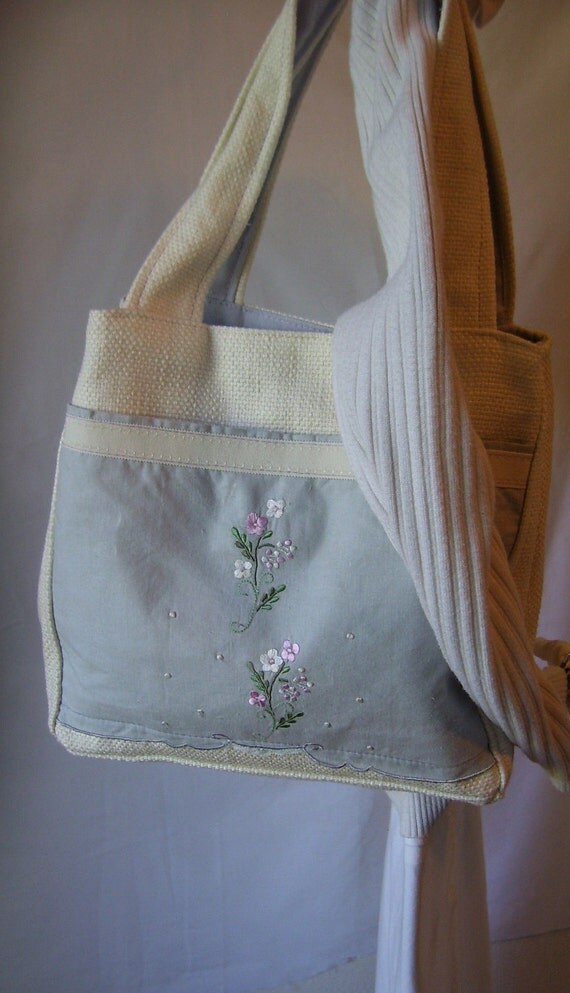 Embroidered Hankie Off White Woven Tote Bag Again