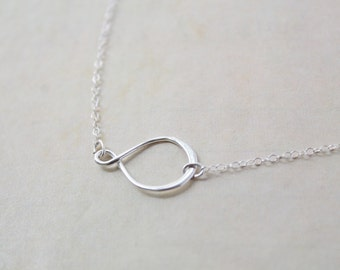 Simple infinity necklace - delicate sterling silver chain and circle charm - simple modern jewelry by fildee