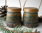 Vintage Wooden Salt and Pepper Shakers Rustic Cabin Decor