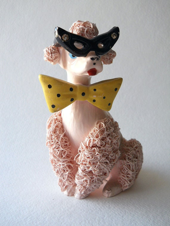 Vintage Pink Spaghetti Poodle 50 S Figurine By Whatnotsandsuch