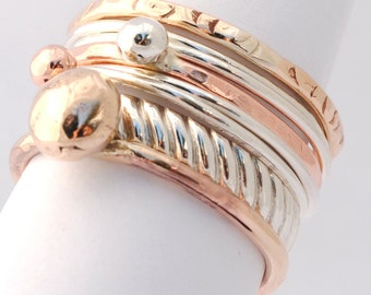 Contemporary Mixed Metal Stacking Ring Set - Made to Order