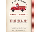 Vintage Fire Truck Birthday Invitation, Fire Truck Invitations, Firetruck Invitation, Dalmatian Invite, Fireman invitation