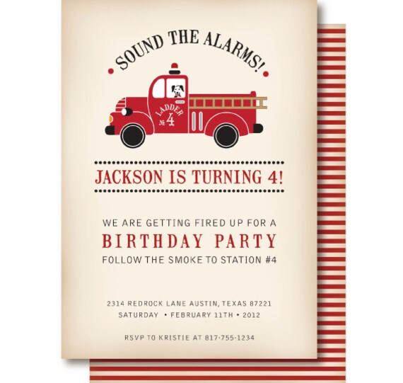 Vintage Fire Truck Birthday Invitation Fire Truck – Fire Truck Birthday Invitation