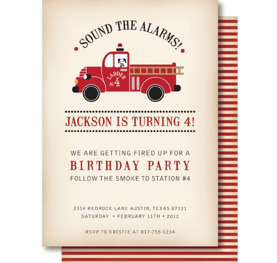 Vintage Fire Truck Birthday Invitation Fire Truck – Firetruck Birthday Invitations