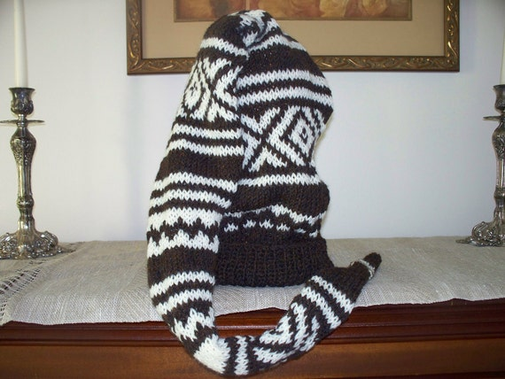 """SALE Hand Knitted Hat and Scarf in One Nordic Pattern Brown and White """"The Coolest Hat Ever"""" Large X Large Size Men Women Hat"""