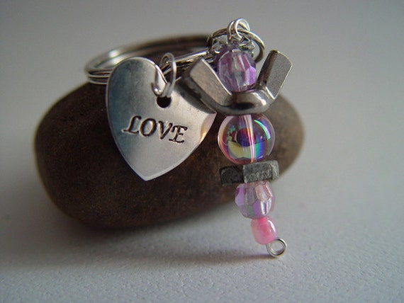 "Pink Beaded Silver Wingnut ""Love"" Heart Petite Angel Charm Keychain"