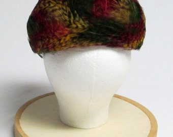 Hattie Carnegie Red Velvet Hat with Yellow Red Green Feathers ORIGINAL Purchase Tags