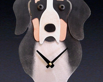 Greater Swiss Mountain Dog Art - Greater Swiss Mountain Dog Clock - by Anita Edwards