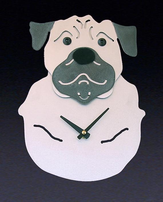 Pug Dog Art - Pug Clock - by Anita Edwards