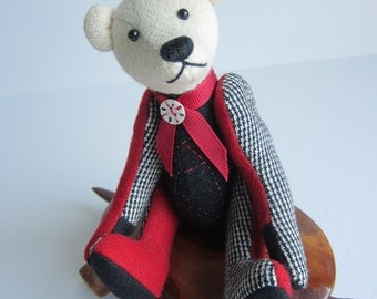 Patchwork Bear Red, Black, & White Wool plaid 7 inch Tom Thumbear