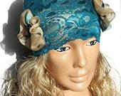 design Dark turquoise headband. Large lace headband. Dark turquoise and ivory. Womens Hair Accessory, headwrap, bandana, hairband