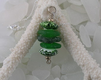 Genuine Sea Glass Stacker Necklace with Handmade Lampwork Beads  205