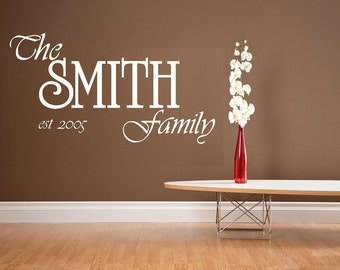 Personalized Family Name and Est. date wall decal WD custom
