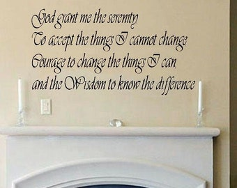 Serenity Prayer wall decal WD quote inspirational wall decal bedroom decal living room decal wall decor vinyl lettering home decor religious