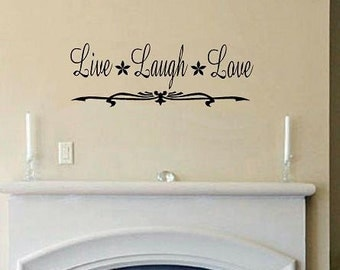 Live Laugh Love with flourish detail wall decal quote decal for living room wall decor home decor vinyl decal wall sticker wall quote love