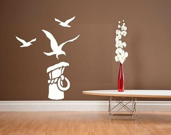Sea Gull Pier scene beach ocean bird wall decal summer decor ocean decal bedroom decal home decor tropical summer decor vinyl decal mural