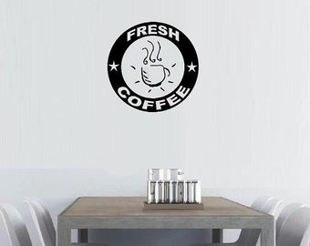 vinyl wall decal quote Fresh Coffee retro sign look design