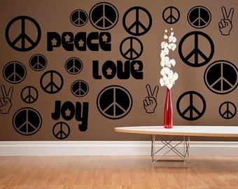 wall decal Peace Symbols love joy peace room decor living room decal kids decal bedroom decal hippie decal 70's decor peace decal vinyl