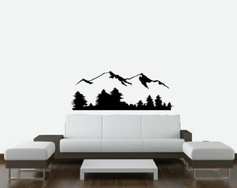 Mountain scene wall decal nature scenery bedroom decal living room decal home decor vinyl decal bedroom decor nature decal mural decal