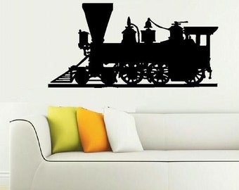 wall decal Locomotive Train Engine steam engine train decal vinyl decal model train train hobbyist vintage retro living room decal decor