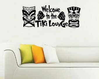 vinyl wall decal quote Welcome to the Tiki Lounge Beach